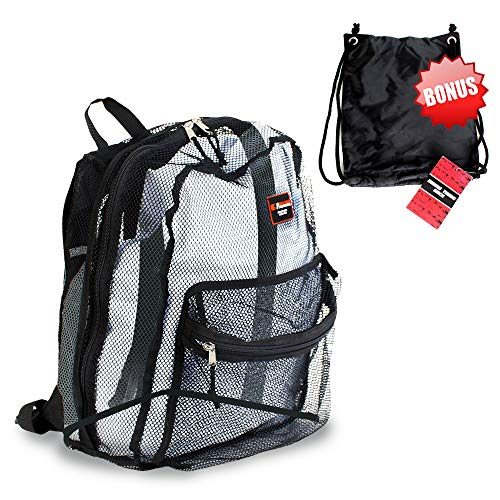Mesh Backpack - w/FREE drawstring bag included. 17 inch Backpack.]()