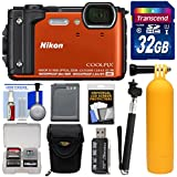 Nikon Coolpix W300 4K Wi-Fi Shock & Waterproof Digital Camera (Orange) 32GB Card + Case + Battery + Monopod + Floating Handle + Kit