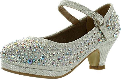 Forever Dana-58k Kids Mid Heel Rhinestone Pretty Sandal Mary Jane Platform Dress Pumps White 3