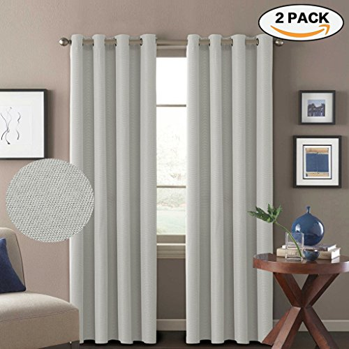 Weight Linen (H.Versailtex Classical Grommet Top Thermal Insulated Heavy Weight Textured Tiny Plaid Linen Look Innovated 85% Blackout Room Curtains, 52 by 84 Inch - Off White (Set of 2 Panels))