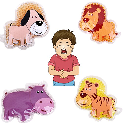 "FOMI Kids Fun Pain Relieving Hot Cold Boo Boos Ice Packs. 4-Pack. Animal Designs. Multi-Use Children's Gel Bead pack for Neck, Knee, Ankle, Arm, Hand, Thigh, Leg. (4"" x 3"" each) by FOMI"
