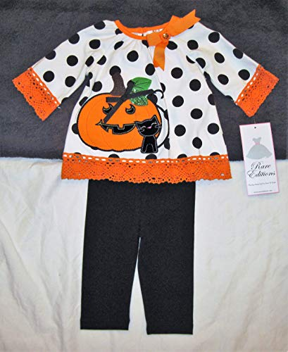 Rare Editions Girls' Two Piece Halloween Outfit, Polka