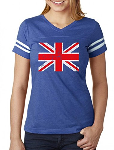 Vintage UK Flag Retro United Kingdom Style Women Football Jersey T-Shirt Large blue/white (Womens Vintage T Shirts British compare prices)