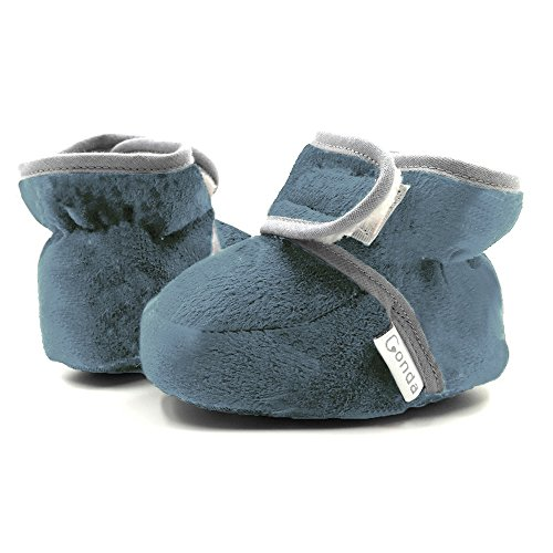 Baby Booties Girl & Boy Infant Fleece Slippers - Baby Blue / Teal Soft Cozy and Colorful Baby Shoes By Conda 6 - 18 (Ana Fleece)
