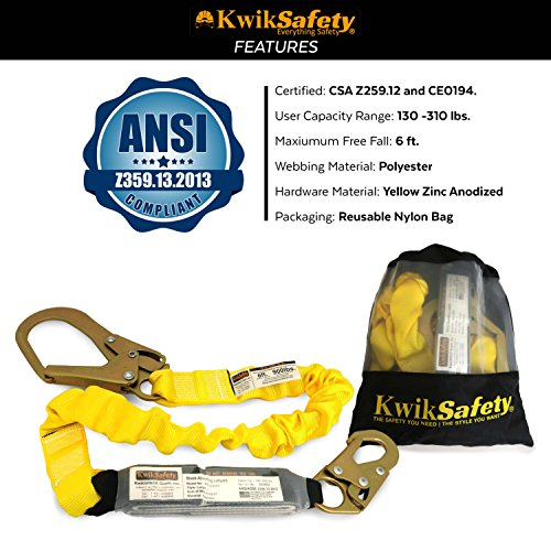 KwikSafety BOA | Single Leg 6ft Tubular Stretch Safety Lanyard | OSHA Approved ANSI Compliant Fall Protection | EXTERNAL Shock Absorber | Construction Arborist Roofing | Snap & Rebar Hook Connectors by KwikSafety (Image #6)