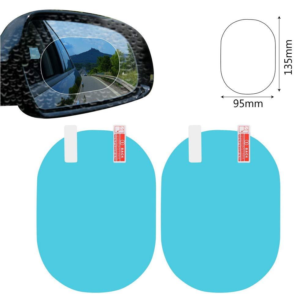 CHIPYHOME 2 Stü ck Blaue Anti-Regenschutz Blend- und Antibeschlagfolie fü r Autoscheiben, LKW, Wohnmobile, Motorrad, zum Entfernen von Regentropfen und Schnee und Reflexionen 9.5 x 13.5 cm