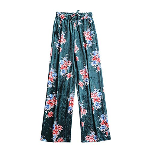 Con Para Elástico Ancho Cintura Bolsillo Alta Estampado Floral Mujer Pantalones Green Terciopelo De Pantalón Sueltos vYwxdqvf
