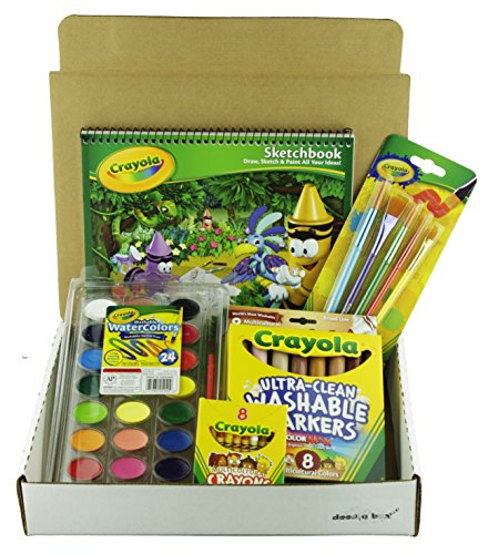 bundle-multicultural-art-set-in-a-doodle-box-crayons-markers-watercolor-paints-brushes-and-sketchboo