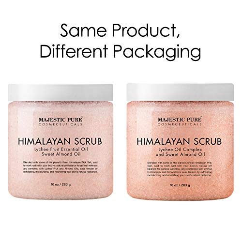 Majestic Pure Himalayan Salt Body Scrub with Lychee Oil, Exfoliating Salt Scrub to Exfoliate & Moisturize Skin, Deep Cleansing - 10 oz.