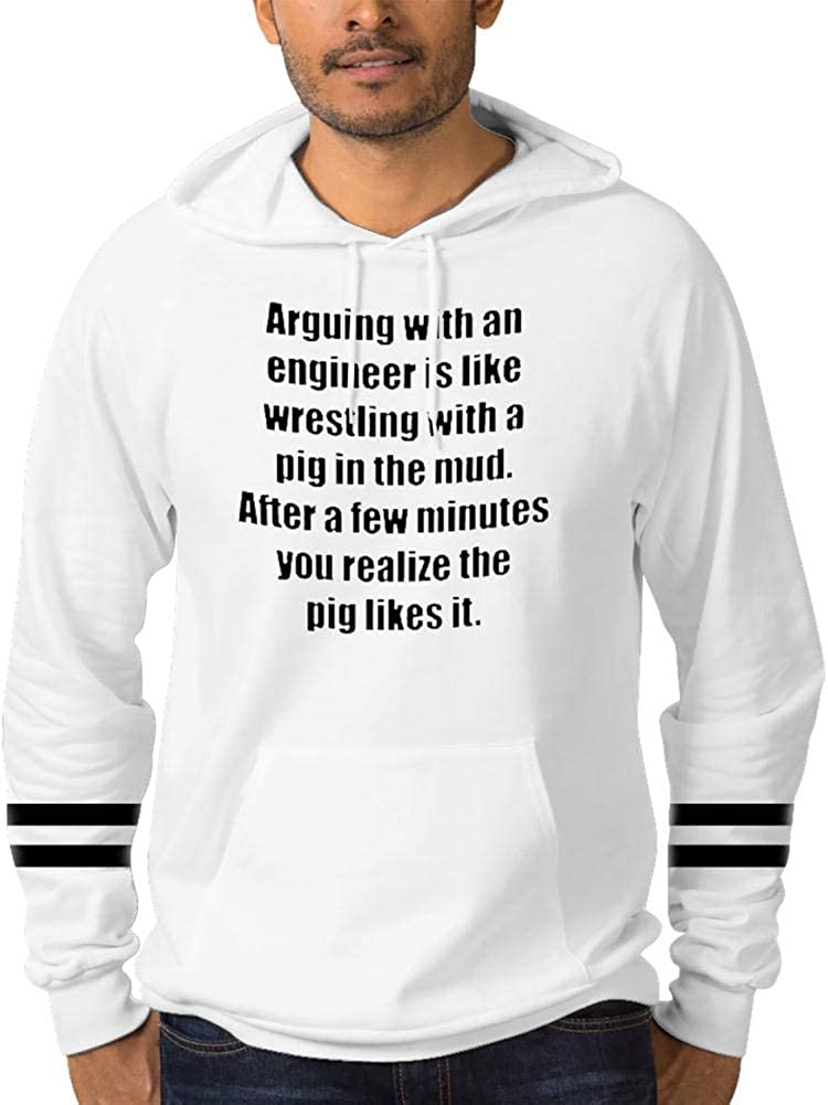 Mens Pullover Hooded Cotton Pocket Fleece Gypsy Print Like Wrestling with a Pig