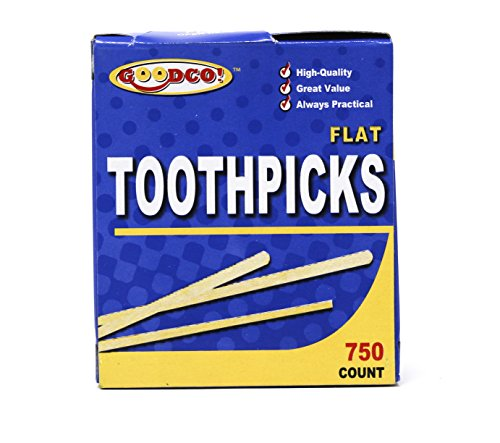 (GoodCo! Toothpicks, Flat Natural Wooden Bamboo Tooth Picks for Teeth, Appetizers and Cocktail 750 Count)