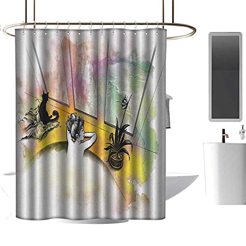 (TimBeve Hotel Grade Shower Curtain Modern,Girl with Cat Taking Bath Spa Aroma Theraphy Relaxing Peaceful Massage Illustration, Multicolor,Polyester Bathroom Shower Curtain Set with Hooks 60