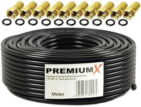 50m Cable coaxial PremiumX Deluxe Pro de Negro 135dB Cable de Antena Sat de Cobre Pur blindado de 5 vías con 10x F - Conector