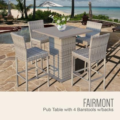 TK Classics FAIRMONT-PUB-WITHBACK-4 5-Piece Fairmont Pub Table Set with Pub Table and 4 Bar Stools with by TK Classics
