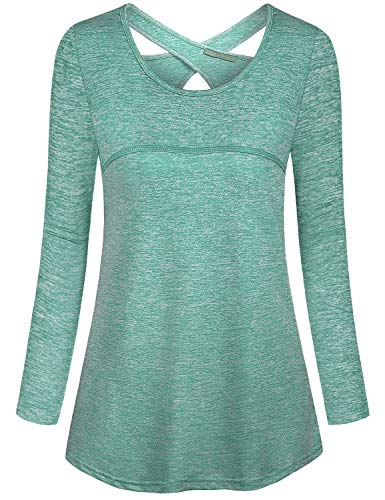 - Kimmery Woman Long Sleeve Round Collar Criss Cross Back Moisture Wicking Yoga Shirt Green