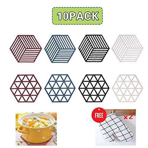 Set of 8 Silicone Trivet Mats and Hot Pads, Multi-Use Trivet Mat Insulated Durable Non Slip Coasters Hot Pads,Placemat for Home Kitchen and Dining Table,and Contains 2pcs High Heat Resistant Gloves