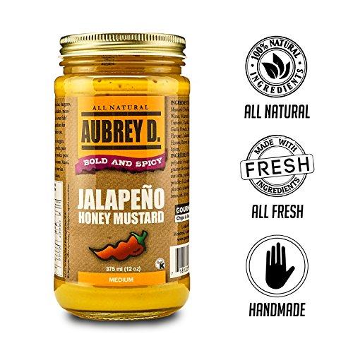 Aubrey D. Jalapeno Honey Mustard, Gluten Free, Spicy Hot Sweetness for BBQ Hot Dogs, Burgers, Dressing, Potato Salad, (12 oz). ()