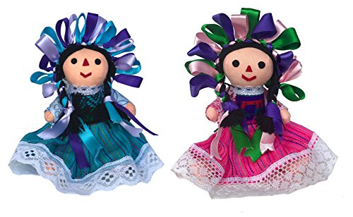 Mexican Handmade Traditional Rag Dolls 2 Pack - 7 inches