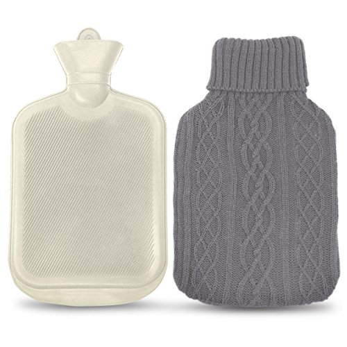 AZMED Classic Rubber Hot Water Bottle with Knitted Grey Cover, 2 Liters, White