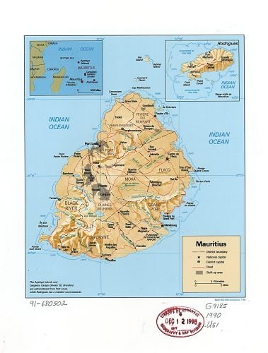 Amazon.com: Historic Map 1990 Map Mauritius. - Size: 18x24 ...