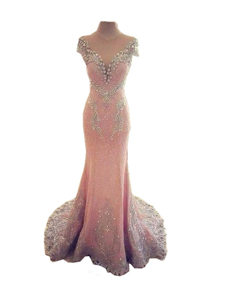 Tsbridal Luxury Mermaid Prom Dresses 2018 Lace Crystals Light Pink Party Dress-US18W by Tsbridal