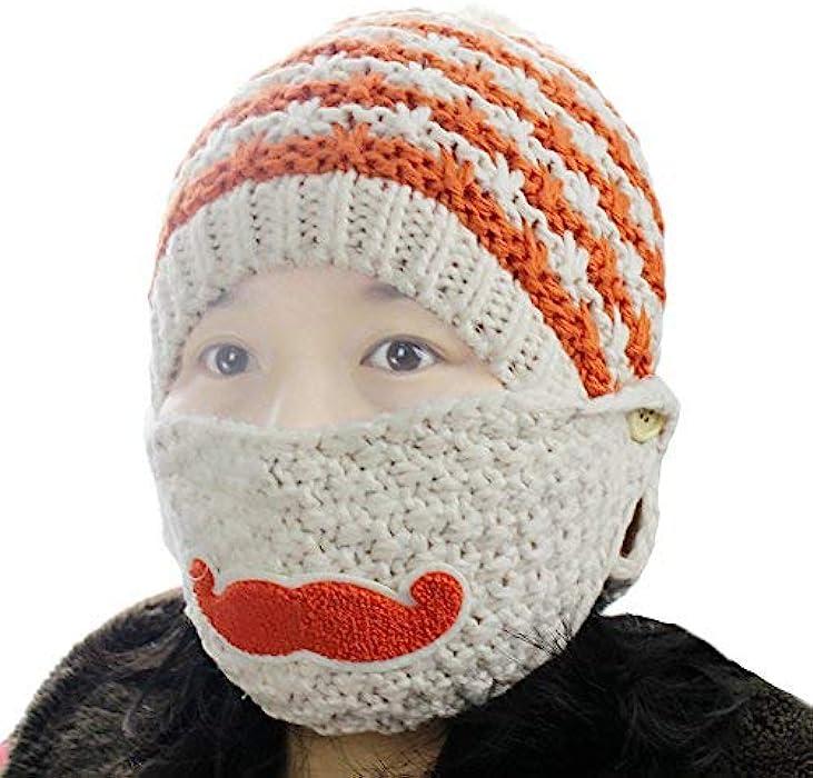 Women s Knit Striped Beard Mustache Removeable Face Mask Warmer Hat Beanie  Cap Biege 10a0f71c0