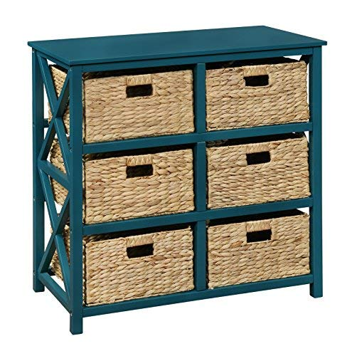 Cabinet Accent Table - 3 Tier X-Side Storage Cabinet with 6 Baskets (Teal)