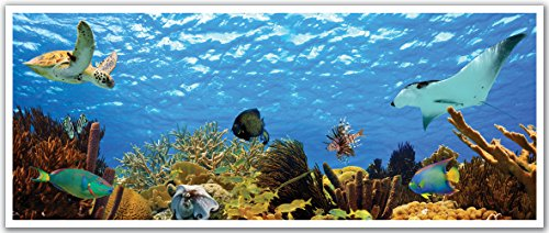 JP London PAN5025 uStrip Turtle Stingray Tropical Fish Ocean High Resolution Peel Stick Removable Wallpaper Sticker Mural, 48
