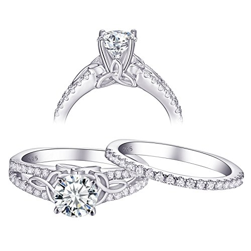 Newshe 1.5ct Round White AAA Cz 925 Sterling Silver Engagement Wedding Ring Set For Woman Size 10 - Box Sterling Silver Ladies Ring