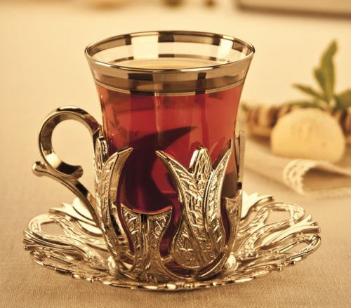 Turkish Tea Glasses Set with Holder Saucers Glass Cups Tray Sugar Bowl
