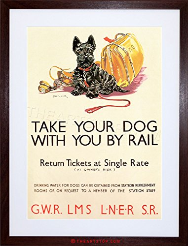 The Art Stop Travel Vintage AD Policy Dogs Rail Train Scottish Terrier Framed Print F12X6869