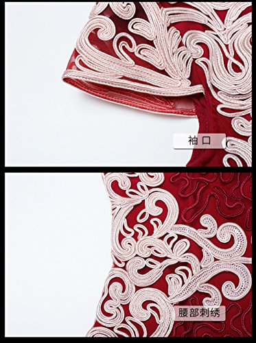 Dress Sleeve Evening Red Neck Slim Gown Fit cotyledon Women`s Formal Short Round 0qExfvw