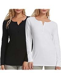 2 Pack Women's Long Sleeve Rib Knit Henley Tee Black/ White