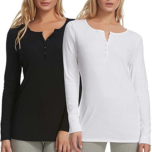 Felina 2 Pack Women's Long Sleeve Rib Knit Henley Tee Black/ White...