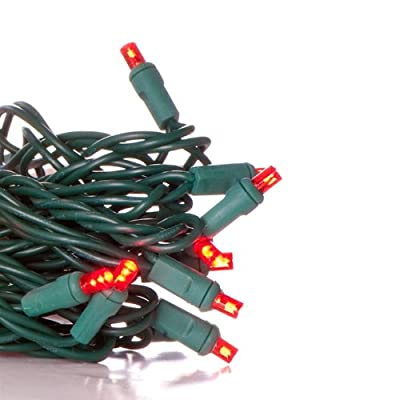 50 Wide Angle Red LED Christmas Light Set; Green Wire