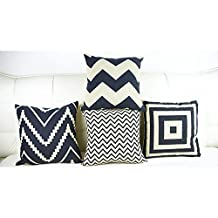 Weksi®4 Sets Striped Throw Pillows Cotton Linen Pillow Covers 16.5x16.5 Cushion Covers Can Be Used As Sofa Pillow Covers