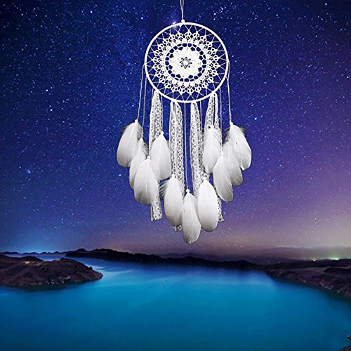 Adarl Home Decor Creative India Style Handmade Dream Catcher With Feather Wall Hanging Ornament Craft Gift Lace B