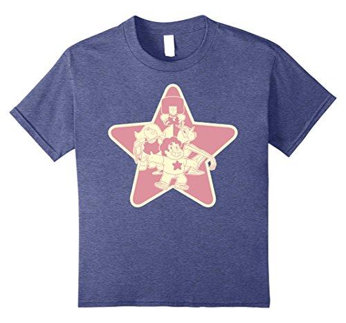 Shot Youth T-shirt (Kids CN Steven Universe Garnet Amethyst Pearl Group Shot T-Shirt 12 Heather Blue)