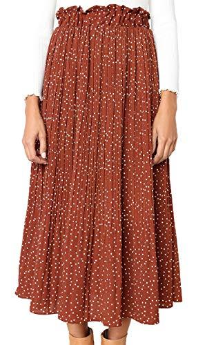 ECOWISH Womens Polka-dot Pockets Pleated Skirt Vintage Puffy Swing Casual Dress Coffee L
