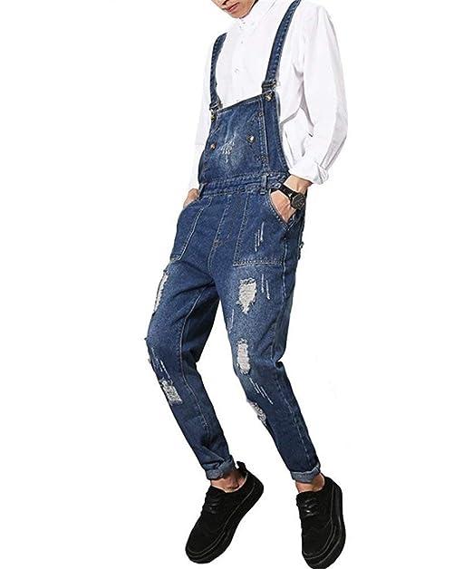 Indigo Agujero Jean y Slim Overol Ropa Leg Jeans Lannister De Blue Bolsillo con Fashion es Jumpsuits Destruido Peto Fit Amazon Denim Hombre Skinny wnX4F7