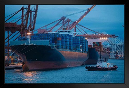 Freighter with Cargo Containers Port of Seattle Photo Art Print Framed Poster 18x12 by ProFrames (Port Framed)