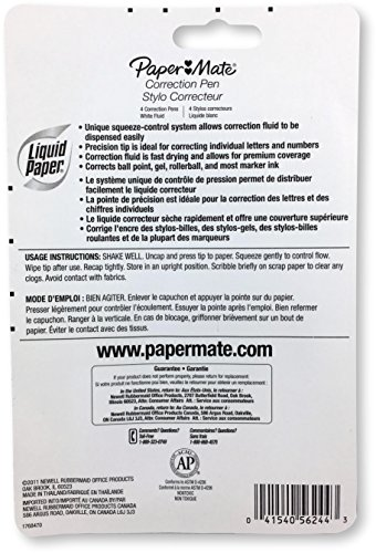 Paper Mate 5624415 Liquid Paper Correction Pen, 0.24 Ounces, Unique Squeeze-Control System, Precision Tip, Fast Drying Correction Fluid, Premium Coverage, Pack of 4 by Paper Mate (Image #1)