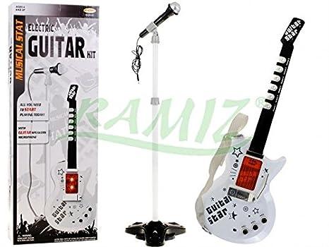 Guitarra Eléctrica de Juguete - Guitarra Micrófono Trípode - Blanco: Amazon.es: Juguetes y juegos