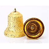 (Pack of 20) Huge Antique Golden Embossed Bell Charms Holiday Festival Home Decor Tree Hanging Bells Party Decoration Gifts(Size:- 5.5 cm Approx) …