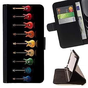 Momo Phone Case / Flip Funda de Cuero Case Cover - Música colorido del arco iris Música Negro - HTC One M7