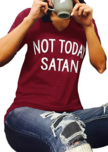 JINTING NOT Today Satan Tshirt Women Teen Girls Summer Casual Short Sleeve Letter Print Funny Cute Tee Shirt Tops with Saying Wine Red