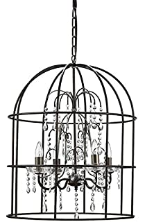 Round Metal Birdcage Chandelier W/ Hanging Crystals U0026 4 Lights Country Home  Lighting D