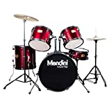 Mendini Full Size 5-Piece 22-Inch Birch Drum Set, Metallic Bright Red - MDS80-BR