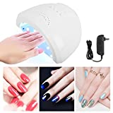 FastSun Professional LED UV Nail Dryer Gel Polish Lamp Light Curing Manicure Machine 48W Dries 5 Fingernails Toenails with 3 Timer Setting Auto Light On/Off at Home Salon Spa White