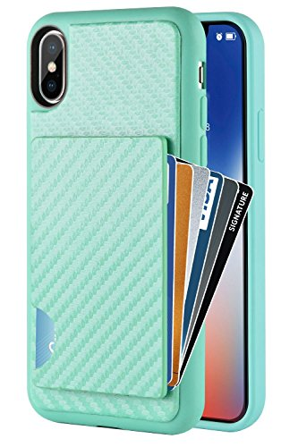 ZVEdeng iPhone Xs Wallet Case, iPhone X Case with Card Holder, iPhone Xs Credit Card Grip Cover with Carbon Fiber Design Money Pocket Protective Slim Card Case for Apple iPhone Xs 5.8 Mint Green